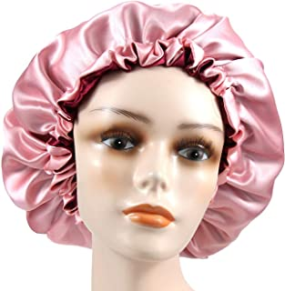 Dehman Adjustable Satin Sleep CAP Hair Bonnet Double Layered Reversible for Women Protective Sleep Hairstyles (BURGANDY - ...