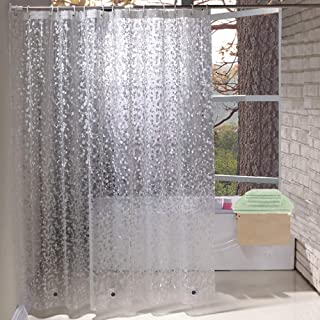 Extra Long Shower Curtain Liner 84 Inches Long, Marble Shower Curtain 72x84 Inch with 3 Magnets, Heavy Duty, Semi Transparent, Cobblestone
