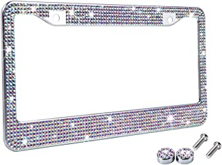 Tzarrot Multicolor Bling Rhinestone License Plate Frames for Women, Metal Rust-Proof License Plate Cover Bling Car Accesso...