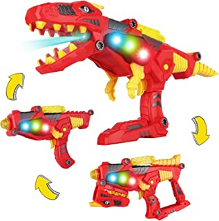AOKESI [2020 Tyrannosaurus Rex Series Imports 3-in-1 Dinoblaster Transforming Dinosaur Gun Take Apart Toy STEM Dinosaur Toys with Lights and Sounds for Kids Boys/Girls Tool Kit