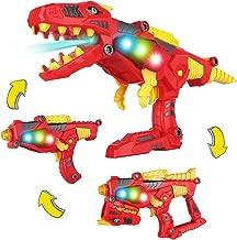 AOKESI (2019 Tyrannosaurus Rex Series Imports 3-in-1 Dinoblaster Transforming Dinosaur Gun Engineering Take Apart Toy Tool Kit with Lights and Sound