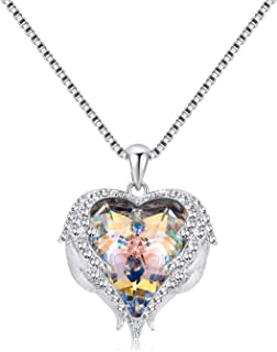 Denvosi Necklace Guardian Angels Heart of The Ocean with Wings and Zircons Made with Swarovski Crystals Pendant Necklace Wedding Necklace for Women Gift for Christmas Anniversary Valentine