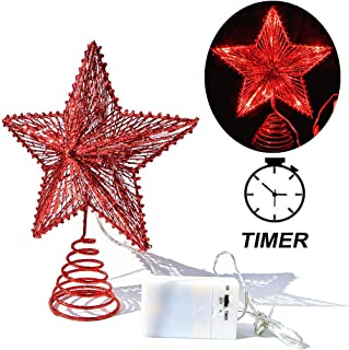 CN CRAFTS 3D Christmas Tree Topper Star, Hollowed-Out Glittered Metal Treetop Star with Timer Warm Red LED 10-Lights (Three Functions), 8.5 X 10.5 Inch (red)