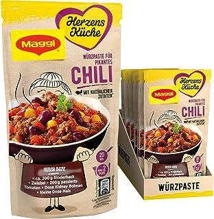 Maggi Herzensküche Pikantes Chili, Würzpaste für Chili con Carne, Vegan, 10er Pack 10 x 65 g