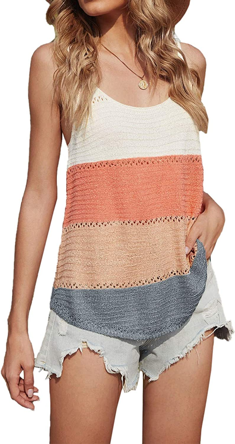 YOCUR Womens Summer Sleeveless Tank Knit Sweater Color Block Sexy Casual Camisole Loose Top