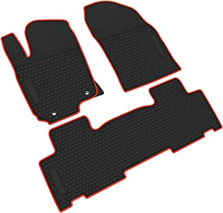 iallauto All Weather Floor Liners Custom Fit Toyota RAV4 2014 2015 2016 2017 2018 Heavy Duty Rubber Car Mats Vehicle Carpet Odorless-Black Red
