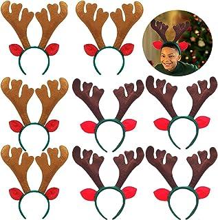 8 PCS Christmas Reindeer Antlers Headband Xmas Deer Horn Headband Hair Hoop Funny Cute Antler Headband with Ears for Chris...