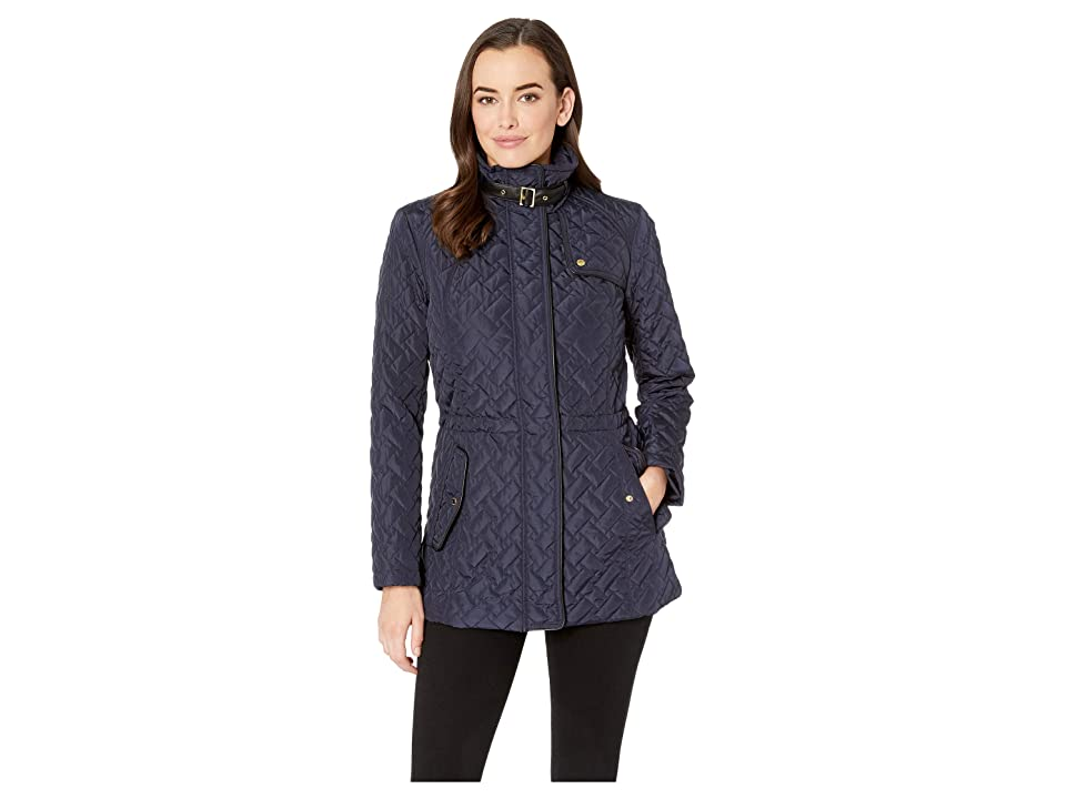 Cole Haan Essential Quilted Zip Front Jacket with Faux Leather Collar Belt and Piping Details (Navy) Women's Coat