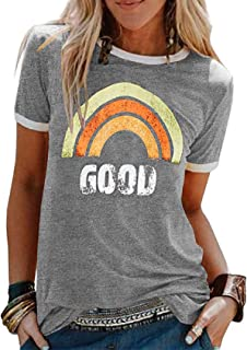Tuopuda T-Shirt Donna Manica Corta Cotone Stampa Maniche Corte Casual Maglietta Estiva Moda Maglie Top