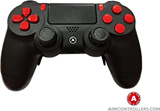 PS4 Slim DualShock Custom Playstation 4 Wireless Controller - AiMControllers Black Matt Design with 4 Paddles Upper Left Square, Lower Left X, Upper Right Triangle, Lower Right O