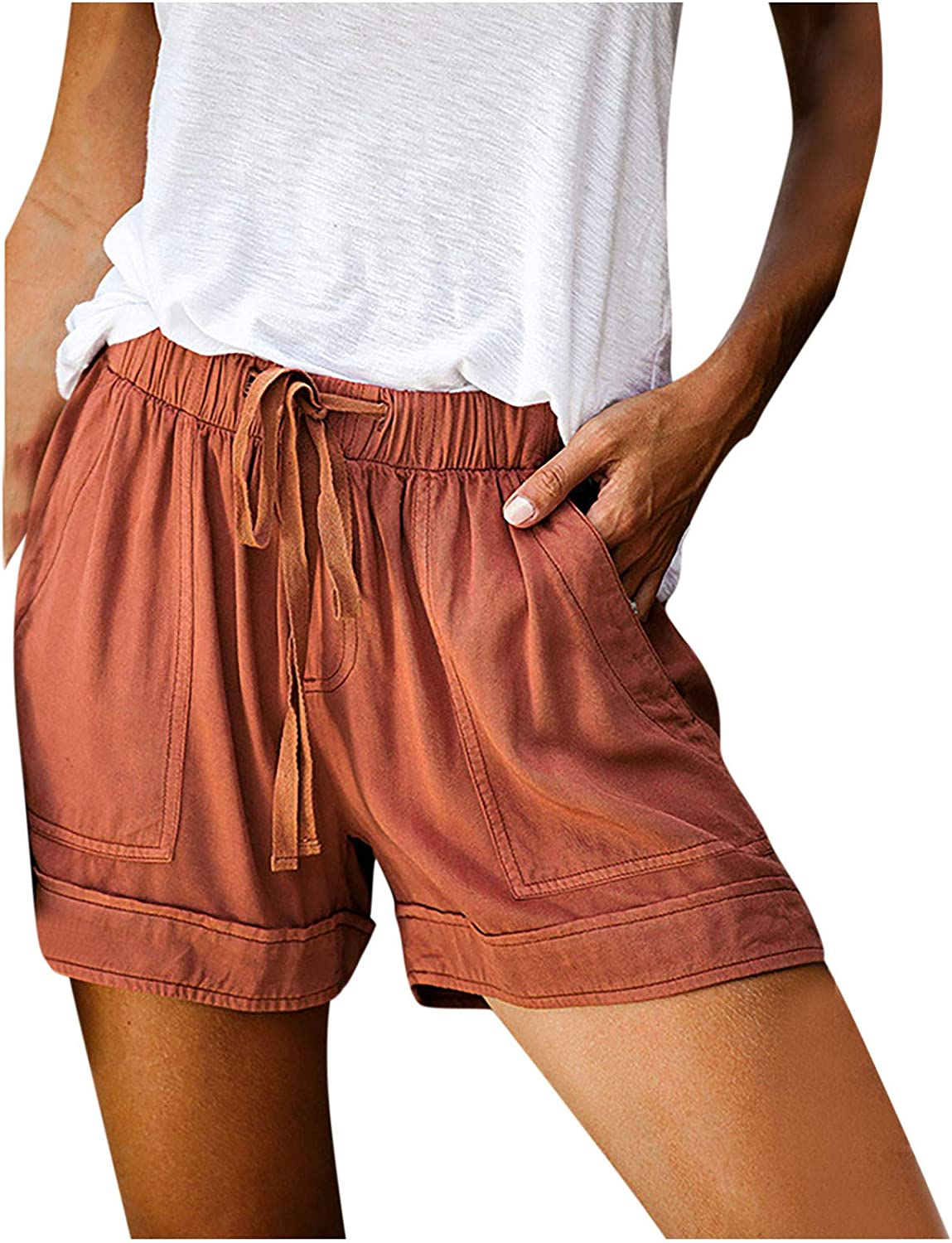 Hessimy womens shorts for Summer,Womens Casual Shorts Summer Drawstring Elastic Waist Comfy Short with Pockets