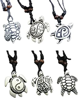 COLORFUL BLING 6Pcs Handmade Carved Sea Turtles Tortoises Pendant Necklaces Rope Chain Resin Beach Ocean Animals Necklace ...