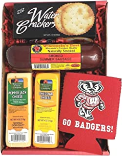 Specialty Badgers Gift Basket- features Smoked Summer Sausages, 100% Wisconsin Cheeses and Crackers and Badgers Coozie. Be...