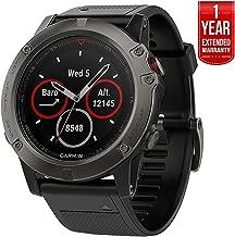 Garmin Fenix 5X Sapphire Multisport 51mm GPS Watch - Slate Gray with Black Band (010-01733-00) + 1 Year Extended Warranty