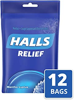 Halls Mentho-Lyptus Cough Drops - with Menthol - 360 Drops (12 bags of 30 drops)