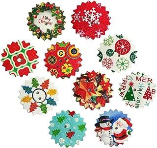 SuPVOX 50 peças de botões de madeira de Natal Enfeites de costura Botões de artesanato Guirlanda de árvore de Natal boneco...