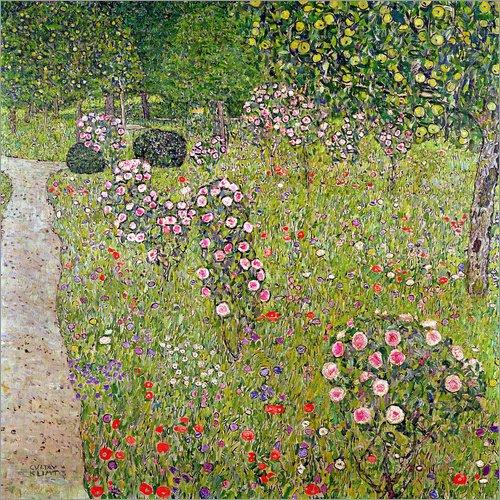 Posterlounge Acrylglasbild 13 x 13 cm: Obstgarten mit Rosen von Gustav Klimt/Bridgeman Images - Wandbild, Acryl Glasbild, Druck auf Acryl Glas Bild