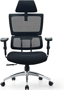 Ticova Ergonomic Office Chair - High Back Desk Chair with Elastic Lumbar Support & Thick Seat Cushion - 130°Reclining & Rocking Mesh Computer Chair with Adjustable Headrest, Armrest