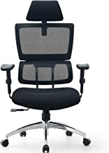 Ticova Ergonomic Office Chair - High Back Desk Chair with Elastic Lumbar Support & Thick Seat Cushion - 140°Reclining & Ro...