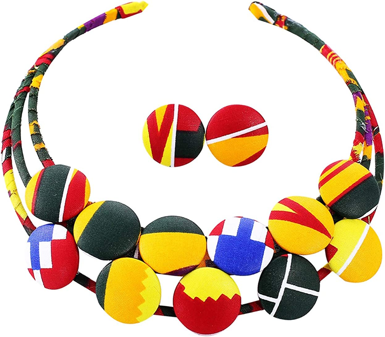Alina Belle African Women Print Necklace Kente Cloth Braided Necklace Ankara Traditional Coller Necklace Earrings Set