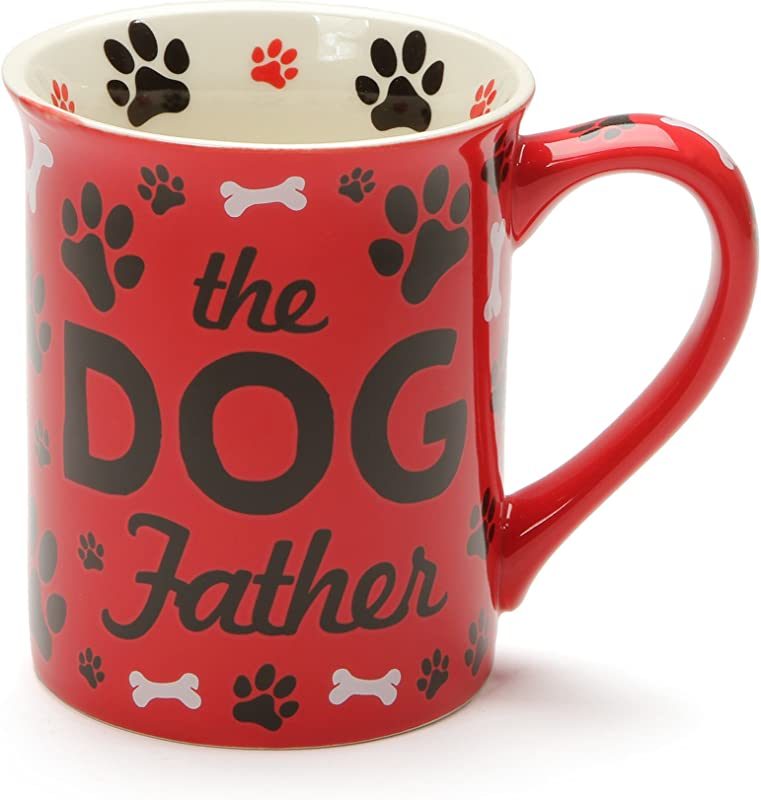 Enesco 6001229 Our Our Name Is Mud Dog Father Stoneware Mug 16 Oz Red
