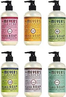 Mrs. Meyer's Liquid Hand Soap Holiday Scents Plus Everyday Scents 6 Scent Variety Pack, 1 Iowa Pine, 1 Orange Clove, 1 Peppermint, 1 Basil, 1 Lavender, 1 Lemon Verbena, 1 CT