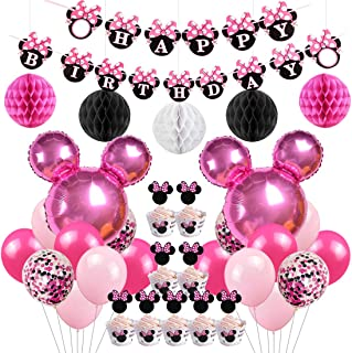 Minnie Themed Birthday Party Supplies Decorations Minnie Balloons Cupcake Toppers Wrappers for Girls 1st 2nd 3rd Birthday