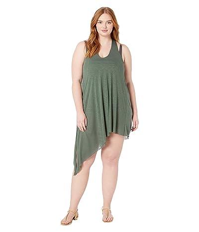 BECCA by Rebecca Virtue Plus Size Breezy Basics Twist Back Dress Cover-Up (Basil) Women