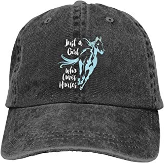 Just A Girl Who Loves Horses Classic Dad Baseball Caps Womens Snapback Denim Hat