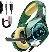 $21 Get Beexcellent Gaming Headset for PS4 PC Xbox One, Stereo PS4 Gaming Headset with Noise Isolation Mic, Memory Foam Earcup, Thumb Wheel Volume Switch, Lightweight Xbox One Headset for Laptop Tablet-Camo