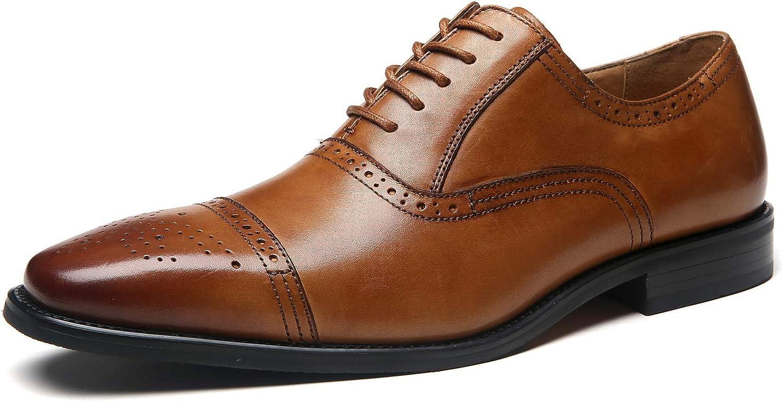 La Milano Mens Leather Cap Toe Lace up Oxford Classic Modern Business Dress Shoes for Men, Posh-1-tan, 10.5