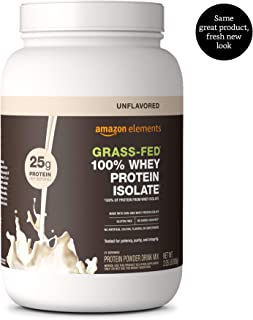 Amazon Elements Grass-Fed 100% Whey Protein Isolate Powder, Unflavored, 2.05 lbs (31 Servings) (Packaging may vary)