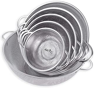 ARTC Vegetable Strainer Sifter Colander Sieve Stainless Steel Kitchen Sink Fine Mesh & Strong Handle Food Basket 6 Pcs set