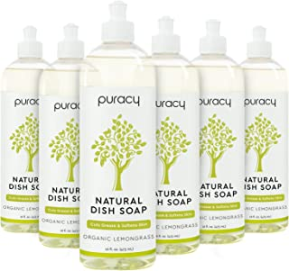 Puracy Dish Soap, Organic Lemongrass, Hypoallergenic Non-Drying Natural Liquid Detergent for Hand Washing Dishes, 16 Ounce...