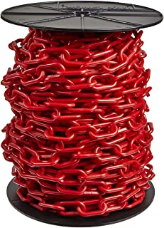 Mr. Chain Heavy-Duty Plastic Barrier Chain Reel, Red, 2-Inch Link Diameter, 100-Foot Length (51105)