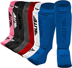 Elite Sports Protective Kickboxing, MMA, Muay Thai Shin & Instep Guards Leg Pad Training Protective Gear Washable