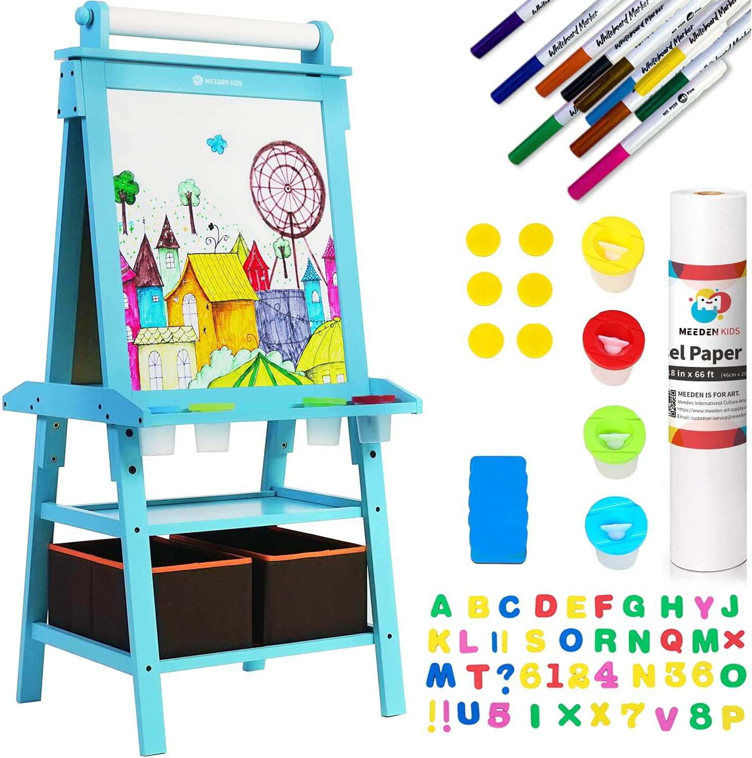 MEEDEN Kids Wooden Art Sale Special Price Easel with Double-Sided Standing Classic Blackboa