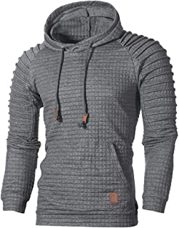 Pullover Hoodies for Men,Men's Outdoors Jacket Running Sports Plaid Pullover Regular Fit Hooded Sweatshirt Casual Outwear