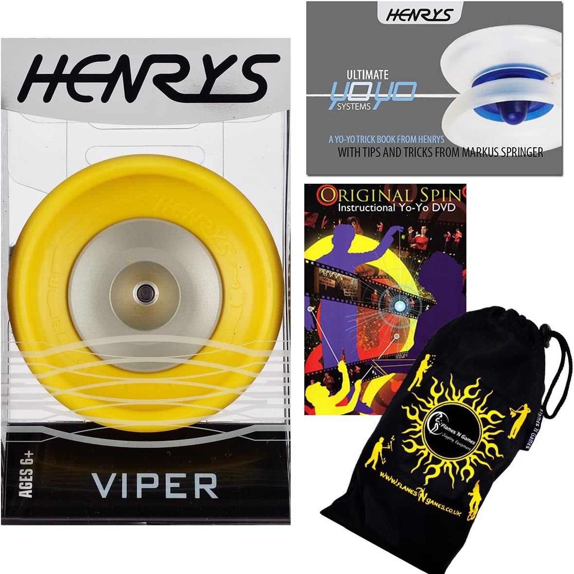 Henrys VIPER Max 56% OFF YoYo Yellow excellence Bearing +Instr Ball Professional