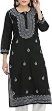 Ada Hand Embroidered Lucknow Chikan 100% Cotton Kurta Kurti (A396432_Black)