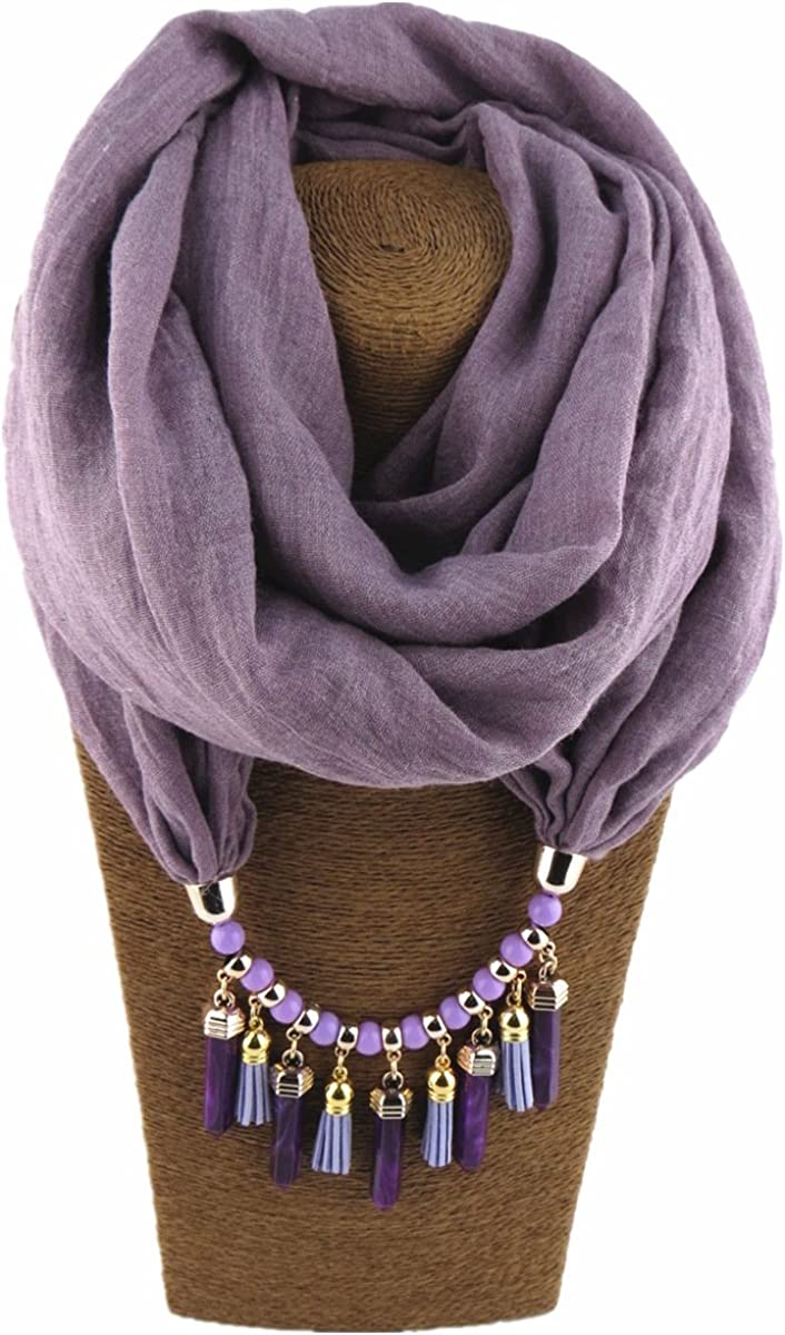 GOGNGTR Vintage Ethnic Scarf Cotton and Linen Ladies Gift Bohemian Women's Resin Jewelry Infinity Scarves(sc001)