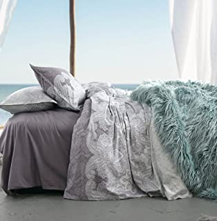 Eikei Home Lavender Lilac Bohemian Paisley Duvet Quilt Cover Light Blue Purple Boho Chic 100% Cotton Bedding Set Oriental Indian Style Tapestry Print in King or Full Queen Size (King, Dusty Purple)