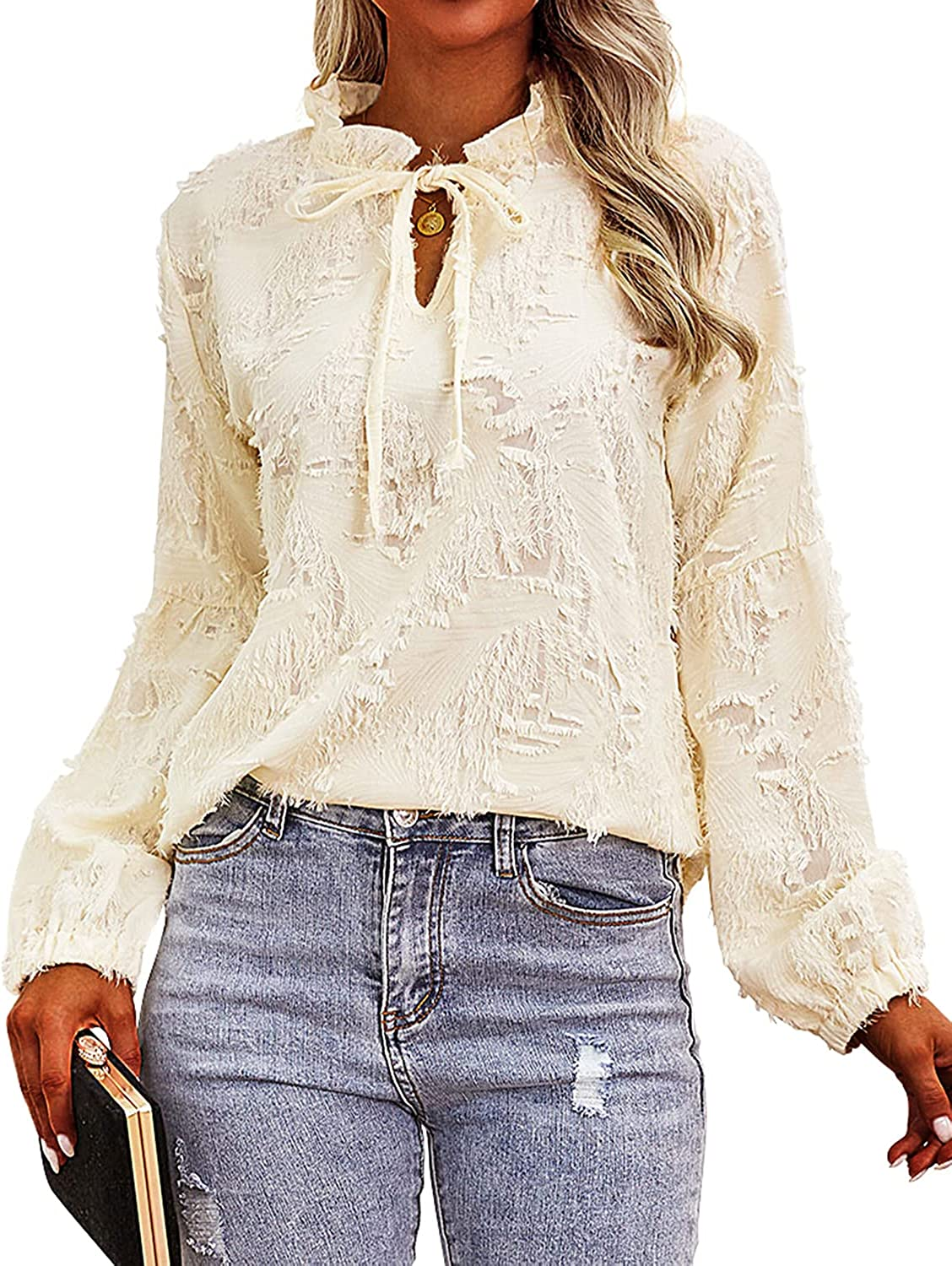 MYMORE Womens Bubble New arrival Long Sleeve High Neck V Blouses Casual Attention brand Eleg