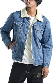 Men's Winter Fleece Lined Fur Collar Denim Jacket Coats