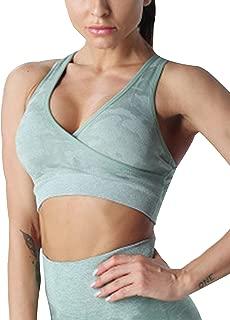 Meladyan Women's Camo Seamless Sports Bra Yoga Workout Activewear Tops