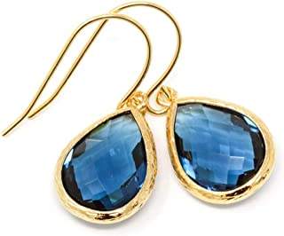 Navy Blue Glass and Gold Dangle Earrings