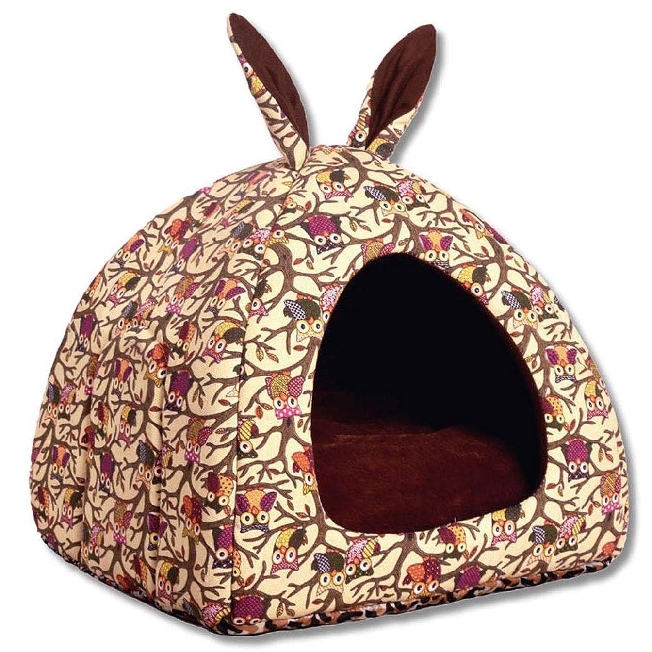 ステートメントスロープ大理石シバオ ベッド 猫 猫用品 ベッド 眠れる森の2イン1ペットテント猫ハウス快適な動物の洞窟の巣は、取り外し可能なクッションと滑り止めの子犬ハウスベッド 洗える 猫ベッド (Color : Multi-colored, Size : L)
