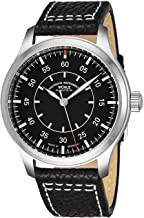 Muhle Glashutte Terrasport I Beobachter Mens Automatic Pilot Watch - Black Face with Luminous Hands and Sapphire Crystal - Black Leather Band Precision Watch Made in Germany M1-37-34/4 LB