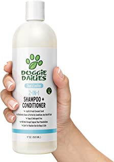 Doggie Dailies Dog Shampoo and Conditioner, 2 in 1 Dog Shampoo for Dry, Itchy Skin, Cleans, Conditions and Moisturizes with Vitamin E and Shea Butter, No Harsh Soap or Parabens, Made in USA
