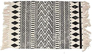 House Cotton Braided Black&Cream Bohemian Rug Washable Decorative Porch Doormat Hand Woven Tassel Rug,2x3 Feet